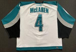 2002/03 Kyle McLaren San Jose Sharks Game Worn Used White Jersey, Repairs