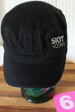 SKYY VODKA WOMENS ADJUSTABLE HAT IN VERY GOOD CONDITION BLACK W/WHITE LETTERING