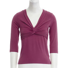 DONNA KARAN raspberry red cross knot draped bust 3/4 sleeves stretch top XS