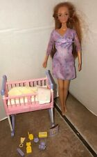 Barbie Happy Family Pregnant Midge Doll W/ Baby Girl & Cradle With Accessories