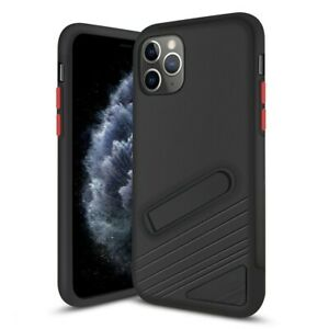 For iPhone 11 Pro Case PC & TPU Protective Cover with Magnetic Kick Stand Black