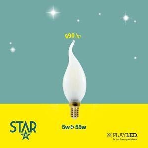 Lampadina a Filamento LED e14 Fiamma Trasparente Smerigliata Opale Calda