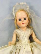 Vintage Bride Hard Plastic Doll Blonde Hair Satin Gown 12 in. Wedding 1950s
