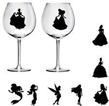 9 Disney princess  wine glass decals stickers wedding parties Bottle jars wall