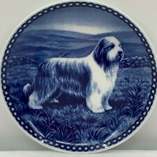 Orig Vintage Dog Plate Bearded Collie from Denmark and Signed, Ready to Hang