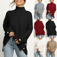 Women Fit Sweater Turtleneck Tops Shirts Pullover Long Sleeve Knitted Jumper 998
