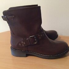 Bufalo Brown Leather Anke Boot, New UK4