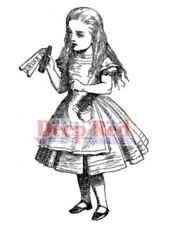 Deep Red Rubber Stamp Alice in Wonderland with Drink Me Potion