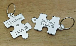 Personalised Novelty Jigsaw Keyrings Wedding Anniversary Friend Christmas