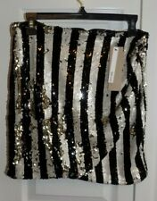 DO-BE Sequin Skirt Short Mini Silver /BLACK- Dancer Party Club Sexy Bling-S-NWT