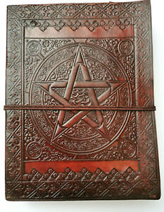 SALE Pentacle leather journal Book of Shadows Wicca steampunk A5 Pagan grimoire