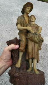 Antique Ceramic Art Pottery Man Woman Czech Art Nouveau Statue Czechoslovakian