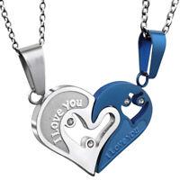 """2 colliers pendentif coeur à séparer """"I love you"""" pour couple, argenté et bleu."""