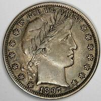 1897 BARBER HALF DOLLAR - NICE ORIGINAL GREY XF/AU ABOUT UNCIRCULATED! (INV#C6)