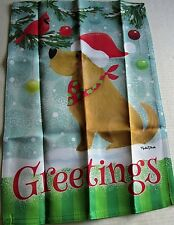 "Christmas Flip-It Flag 12.5"" X 18"" Greetings / Dog with Red Cardinal"