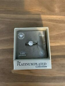 M & S The Platinum Plated Collection Ring Size S Cubic Zirconia
