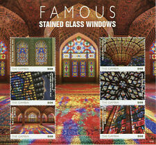 Gambia Art Stamps 2020 MNH Famous Stained Glass Windows Mosques Churches 6v M/S
