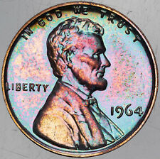 1964-P LINCOLN MEMORIAL CENT NEON MONSTER COLOR TONING BU UNC PRIME LUSTER (MR)