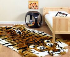 KIDS FAUX FUR TIGER JUNGLE THEME PLAYMAT RUG! 5x7 NEW!