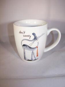 Tee; Kaffeetasse  aus Porzellan - Motiv - Katze - don't worry - * Cha Cult *