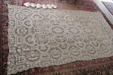 "Vtg Italian Point de Venise Lace Tablecloth w/ 6 Napkins (21""Sq) 68"" x 120+"" K27"