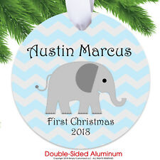 Baby First Christmas Ornament 2018 - Baby Boy Blue Chevron Elephant Personalized