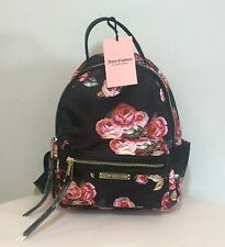 Juicy Couture Black Pink Backpack Rose Floral Print Shoulder Bag Purse NWT