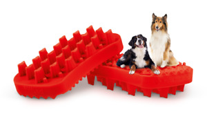NEW Pet+Me RED FIRM LONG Silicone Pet Brush for Long Hair, Thick Coats & Large D