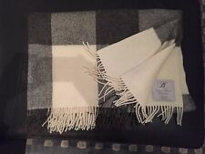 BRONTE by MOON Natural Wool Collection Throw Blanket Gray&Cream Check Made in UK
