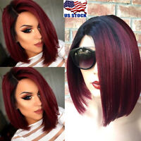 16'' Synthetic Short Bob Hair Ombre Straight Wig Side Part Women Fashion Wigs US