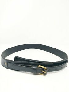 Ann Taylor Loft S Small Belt Black Leather Gold Buckle Casual Hip 32-36""