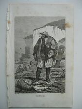 stampa antica antique old print gravure PESCA PESCATORE PECHEUR  FRANCE 1856