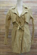 Sanctuary Jules Drawstring Waist Crinkle Trench Coat Jacket Real Khaki XS JM813