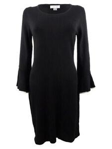 Calvin Klein Women's Plus Size Bell-Sleeve Sweater Dress (1X, Black/Cream)
