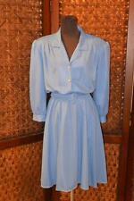 Vintage 70's 80's CALIF LOOKS Retro Blue Belted Secretary Church Day DRESS Sz 12