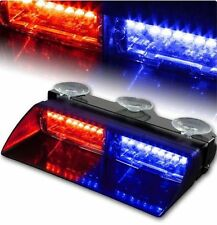 Car 16 LED Red/Blue Police Strobe Flash Light Dash Emergency Flashing Light Lamp