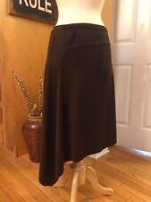 SPOILED GIRL Brown Asymmetrical Banded Velour Skirt - MEDIUM - FREE SHIPPING