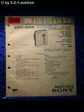 Sony Service Manual WM A10 / B10 / A18 / B18 Cassette Player (#2092)