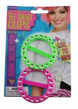80's T-Shirt Clips Eighties Costume Accessory Neon Pink And Green CLOSEOUT