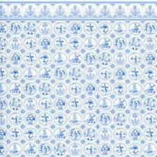 Melody Jane Dolls House Miniature Print Dutch Blue White Delft Tile Wallpaper
