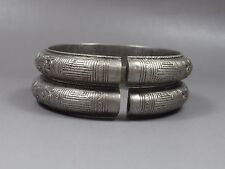 Pair of Antique Chinese Sterling Silver Bracelet Bangle-Dragon,Peony
