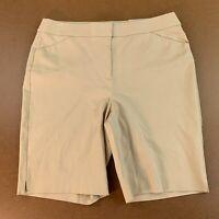 Chicos Womens Size 12 Sand Color Secret Stretch Shorts NWT