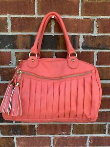 Steve Madden Coral Pink Satchel Tote Handbag Purse