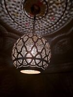 Ceiling Vintage Hanging  Lamp Antique Moroccan Brass  Open ball suspension brass
