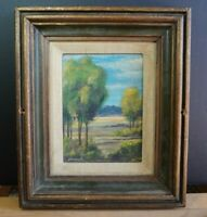Small Vintage Landscape Painting - Trees Mountains in the Distance - Steinbach