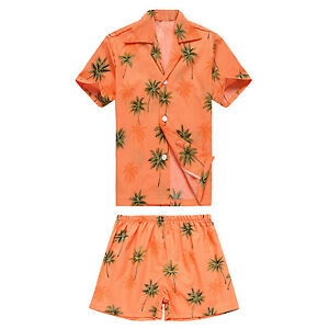 MADE IN HAWAII BOY COTTON CABANA SET ALOHA SHIRT AND SHORTS IN Orange PALMS