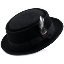 Differenttouch 100% Crush-able Wool Felt Pork Pie Heisenberg Style Hat W/Feather