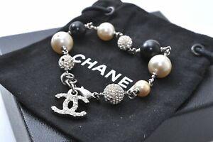 Authentic CHANEL Bracelet CC logo Imitation Pearl Silver Plated C0584