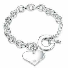 """925 Sterling Silver Plated Oval Link Chain Heart Charm Toggle Clasp Bracelet 8"""""""