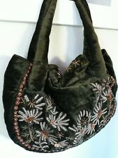 Anthropologie Vintage Green Crushed Velvet Bead And Sequin Bag Purse By Moyna